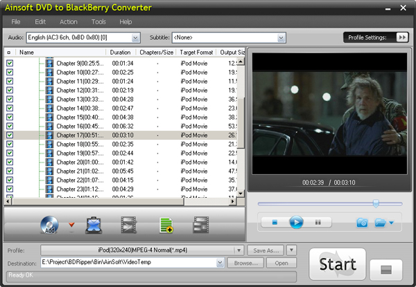 Ainsoft DVD to BlackBerry Converter