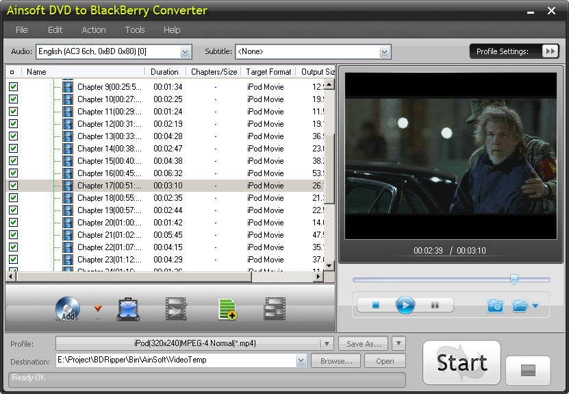 Click to view Ainsoft DVD to BlackBerry Converter screenshots