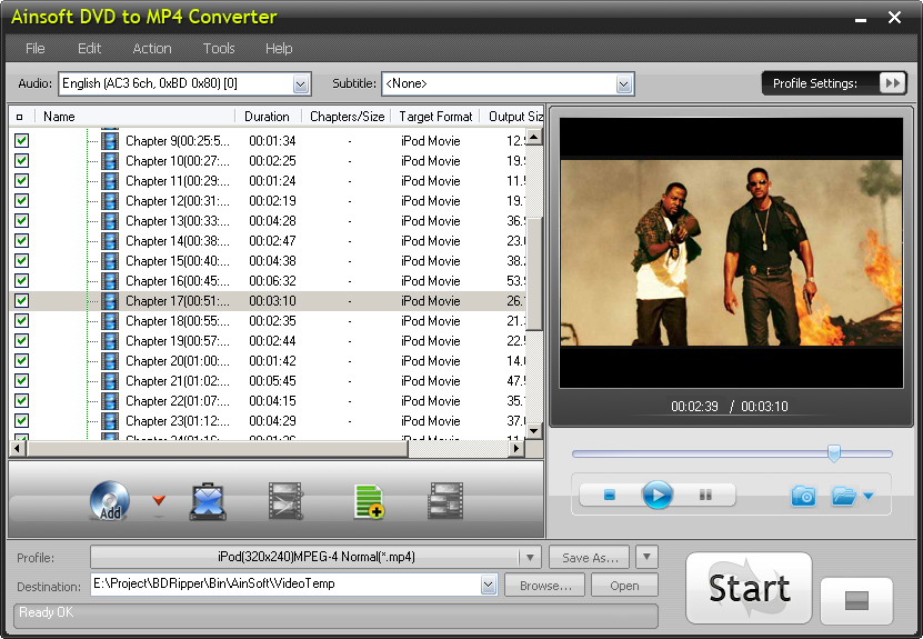 Ainsoft DVD to MP4 Converter 1.0.0.0