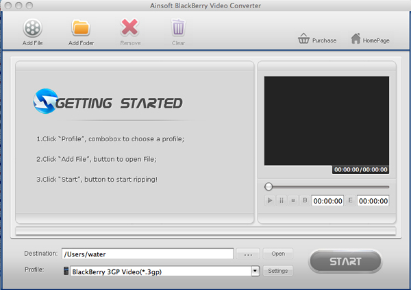 Ainsoft BlackBerry Video Converter for Mac