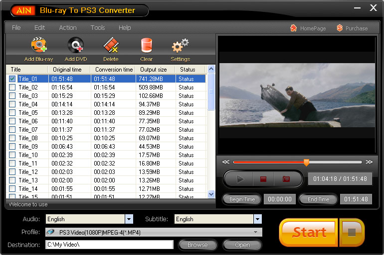 Click to view AinSoft Blu-ray to PS3 Converter screenshots