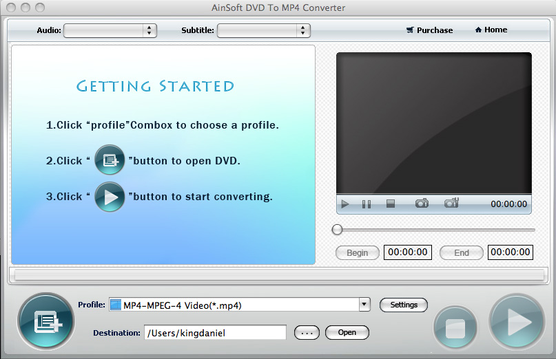 Ainsoft DVD to MP4 Converter for Mac Screen shot