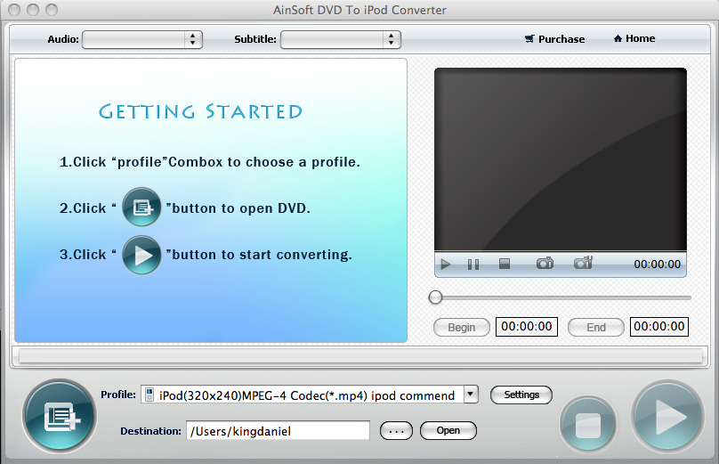 Ainsoft DVD to iPod Converter for Mac 1.0.0.0
